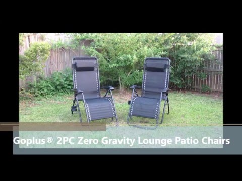 Goplus® 2PC Zero Gravity Outdoor Foldable Lounge Patio Chairs