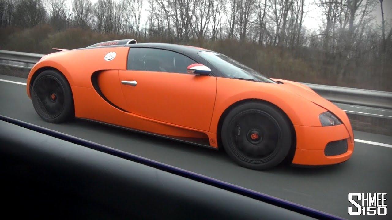 matte orange bugatti veyron convoy startup and drag vs lp560 youtube. Black Bedroom Furniture Sets. Home Design Ideas