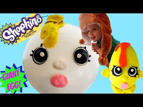 HUGE SHOPKINS GOOGY PLAY DOH EGG | Blind Baskets Blind Bags Kitty Puppy in My Pocket
