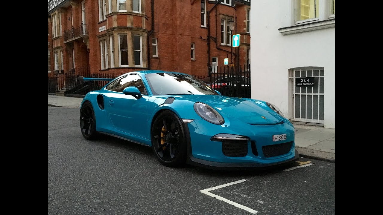 Miami blue Porsche 911 GT3RS startup and driving around ...