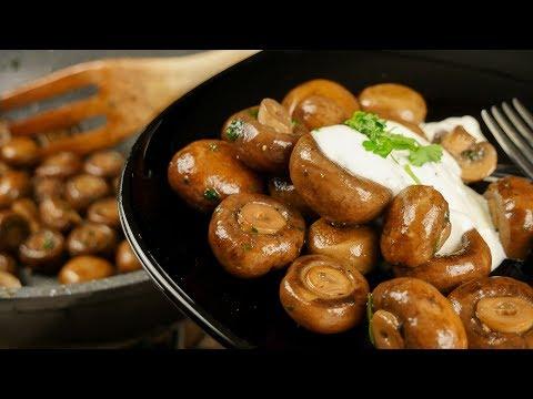 Champignonpfanne mit Knoblauchsoße wie vom Weihnachtsmarkt