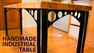 Industrial Wood & Steel Side Table