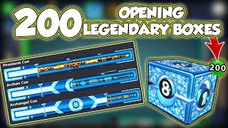 Can 200 Legendary Boxes Open these 3 Cues? (Archangle+Archon+Firestorm) 8 Ball Pool [No Hack/Cheat]