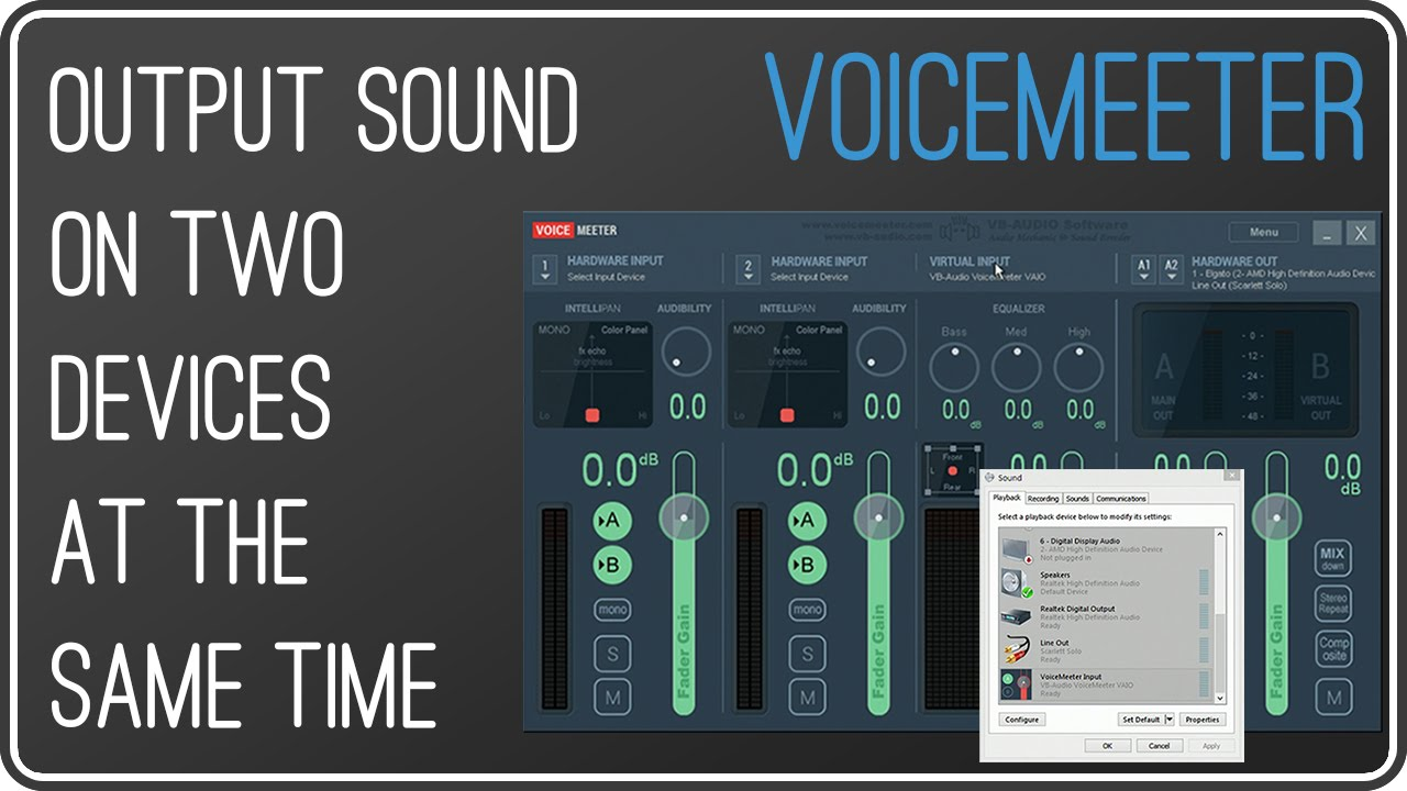 VOICEMEETER: Output sound on two devices simultaneously | Use two