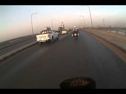 Riding over the Nile bridge in Khartoum