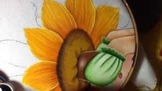 Pintura en tela niña girasol # 5 con cony