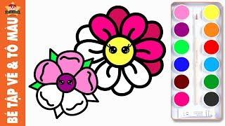 Bé tập vẽ bông hoa đơn giản và tô màu bông hoa xinh đẹp
