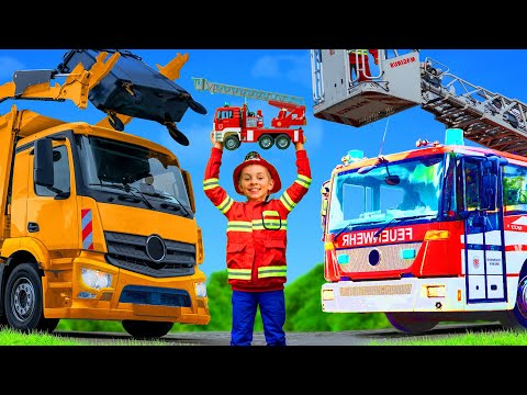 Kids Pretend Play with a Real Garbage Truck, Excavator, Trains & Fire Trucks