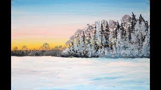Как нарисовать поэтапно Зимний пейзаж. Рисуем поле, лес рассвет, снег