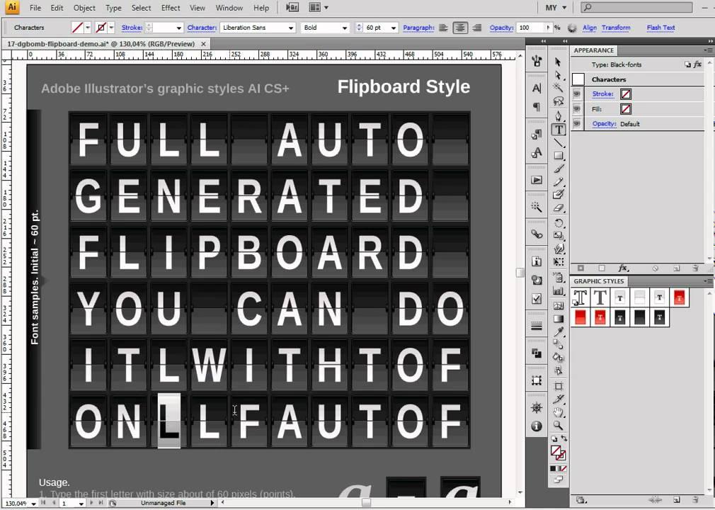 full auto-generated flipboard in adobe illustrator