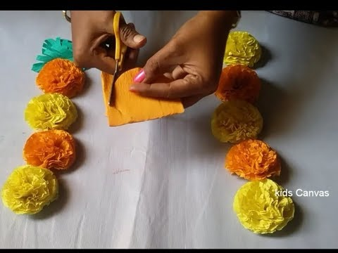 How to make Marigold flowers with crepe paper l paper craft ideas l very easy DIY l home decor l