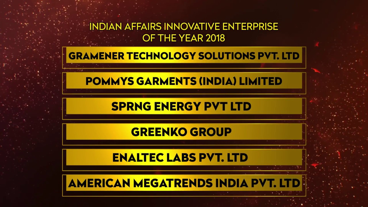 Indian Affairs Innovative Enterprise of the year 2018