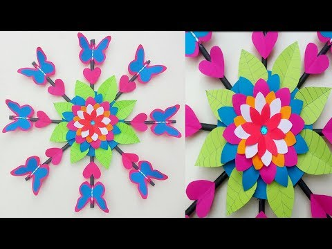 DIY | Paper Flower with Butterfly Wall Hanging for Home Decoration. |Paper Quilling Art