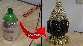 DIY TUTURIAL  BUDA DECORATIVO FEITO  GARRAFA E PAPEL