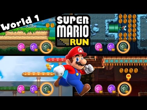 Super Mario Run - WORLD 1 | ALL Pink, Purple, and Black Coins! [iPad and iOS Gameplay]