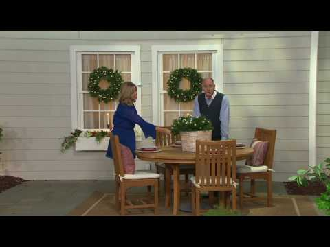 Bethlehem Lights Mixed Greenery With Ornaments Hanging Basket on QVC