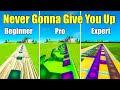 Never Gonna Give You Up Beginner vs Pro Vs Expert (Fortnite Music Blocks) - Code in Description
