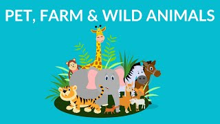 Pet Farm and Wild Animals || Animal Video for Kids