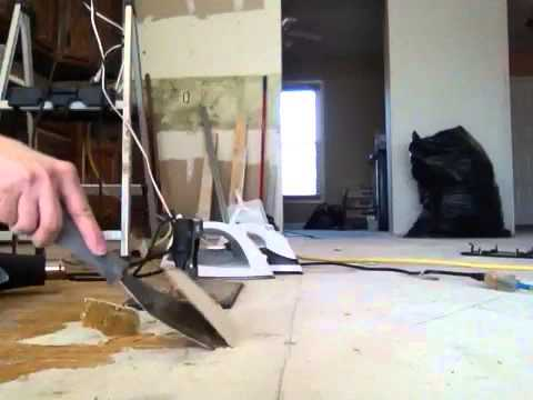Removing Old Linoleum Hardened Glue Backing From Subfloor Youtube