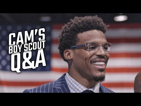 Cam Newton answers questions from Boy Scouts of America in Birmingham