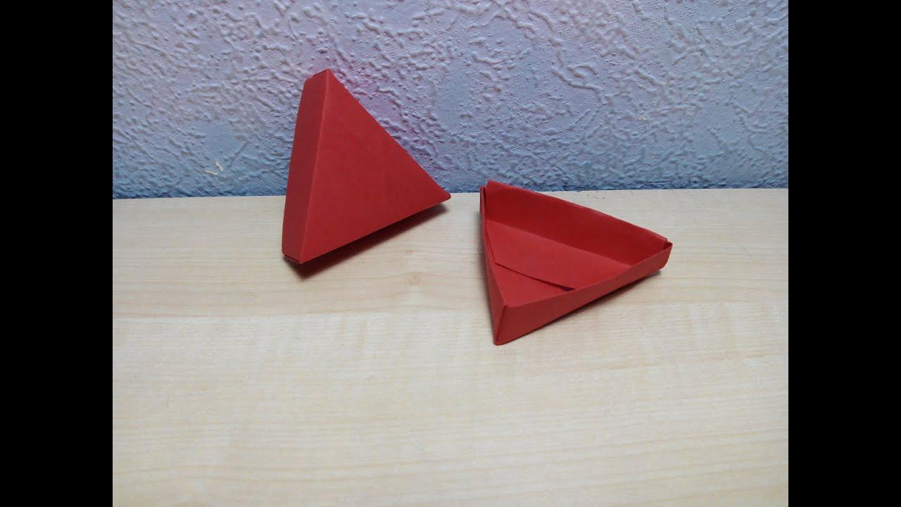 Como hacer una caja de papel triangular origami3 youtube - Como hacer una caja ...