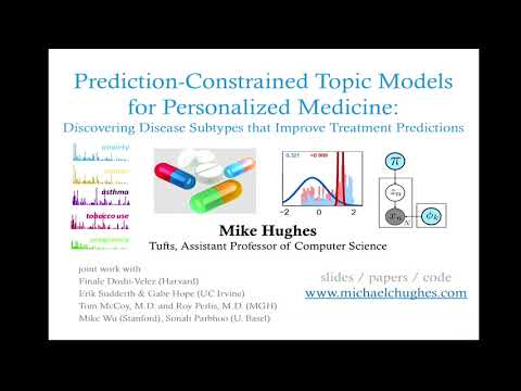 """Michael Hughes presents """"Discovering Disease Subtypes that Improve Treatment Predictions"""" on YouTube"""