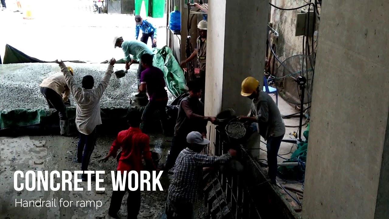 Casting concrete of ramp handrail
