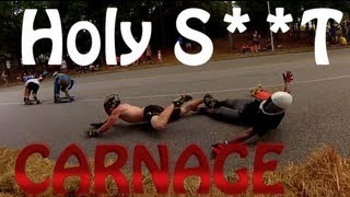 EPIC DOWNHILL Longboard Race WORST CRASHE'S EVER!! (Carnage On The Coast 2013) | JOOGSQUAD PPJT thumbnail