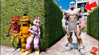 CAN THE ANIMATRONICS HIDE FROM THANOS? (GTA 5 Mods For Kids FNAF RedHatter)