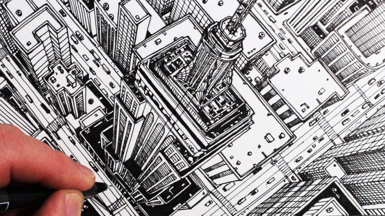 How to Draw The Empire State Building in 1-Point ...