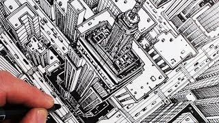 Learn How to Draw a bird's eye view of The Empire State Building in...