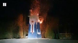 Trump Statue Burned Down