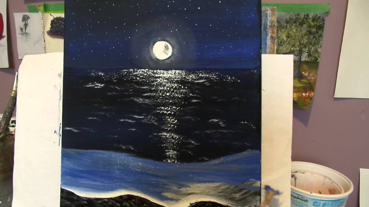 How To Paint A Night Beach With Acrylic Paint Step By