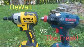 DeWalt 20v Brushless (DCF886) vs. Bosch 18v Brushless (IDH182) Lag Bolt Face Off..The Freak is Weak!