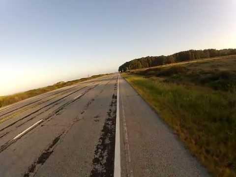 Shadow Cyclist: Pacific Coast, Route 1 North, Near Pescadero, California