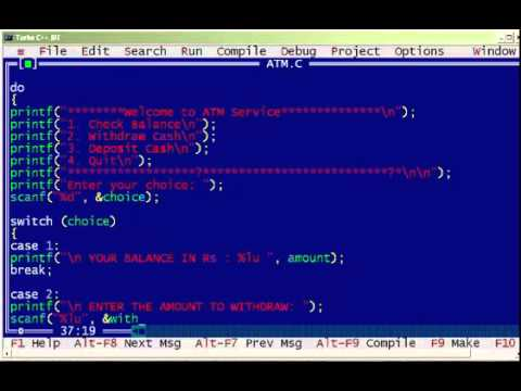 C Program to Display the ATM Transaction