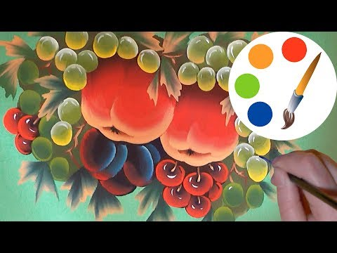 One Stroke, How to paint fruits and berries, Paint apples, plums, cherries, grapes, irishkalia