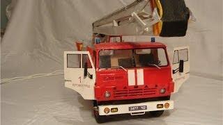 Камаз из бумаги (Пожарный подъемник) Building a paper Model car (fire car kamaz Bronto Skylift)