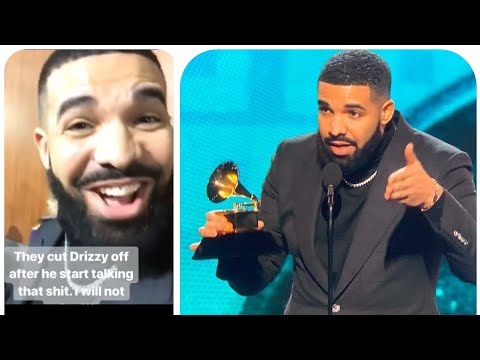 Drake reacts to getting cut off during his Grammy speech