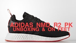 ADIDAS NMD R2 PK BLACK/RED - UNBOXING & ON FEET (SHOT ON IPHONE 7 PLUS)