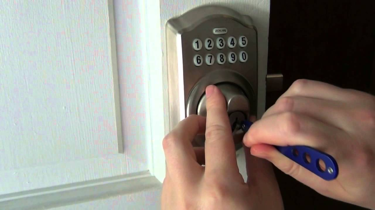 picking raking open a schlage electronic deadbolt
