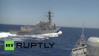 Video Mediterranean Sea: US destroyer comes dangerously close to Russian warship in Med download MP3, 3GP, MP4, WEBM, AVI, FLV November 2017