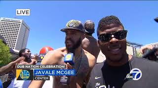 JaVale Mcgee and Swaggy P shirtless celebration