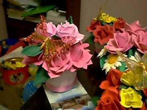 Centros de mesa en goma eva youtube - Flores sencillas de goma eva ...