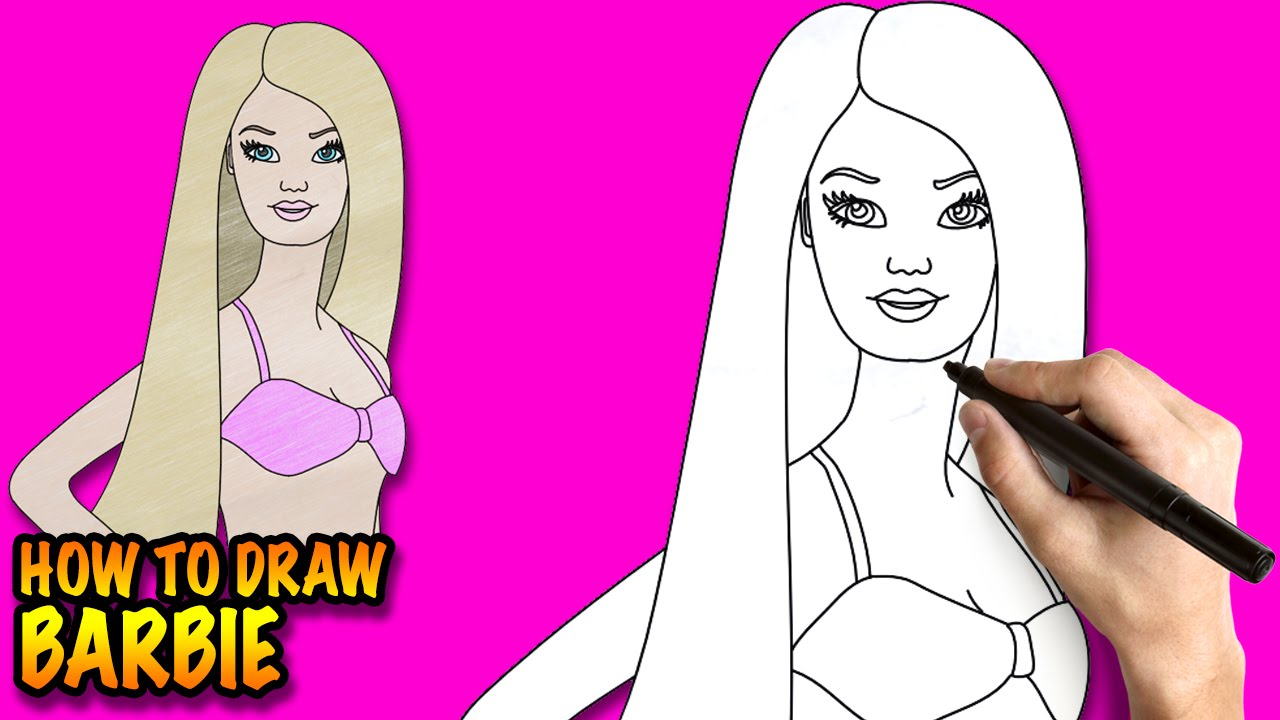 How to draw Barbie - Easy step-by-step drawing lessons for ...