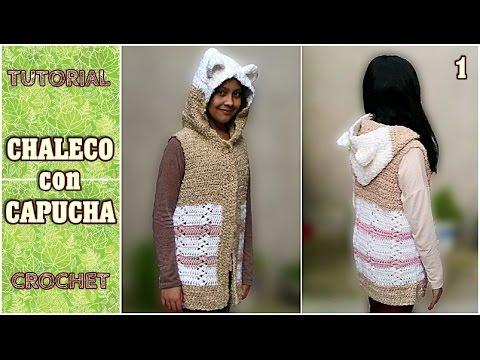 Como tejer chaleco con capucha a crochet (1/2) - YouTube