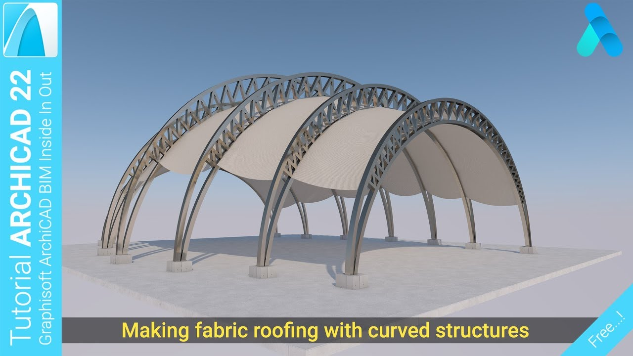 Making fabric roofing with curved structures