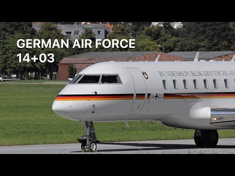 ▶ *Angela Merkel* German Air Force Global Express [14+03] departure at Innsbruck