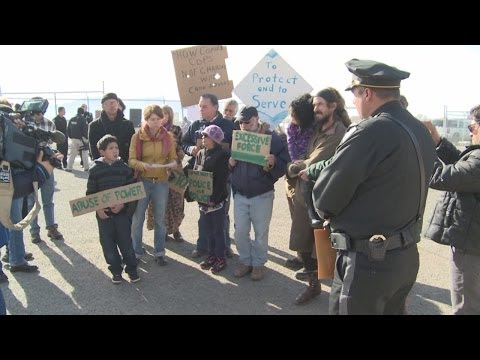 Protestors meet State Police Chief at van shooting protest