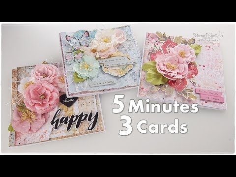 3 Cards in 5 Minutes ♡ Beginners Cardmaking Tutorial ♡ Maremi's Small Art ♡